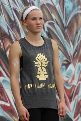 Vibrational Warrior Good Vibes Tank- Grey