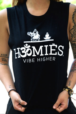 Hॐmies womens yoga Muscle Tank Black