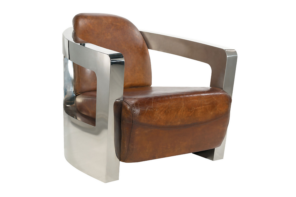 Modern Stainless and Leather Club Chair