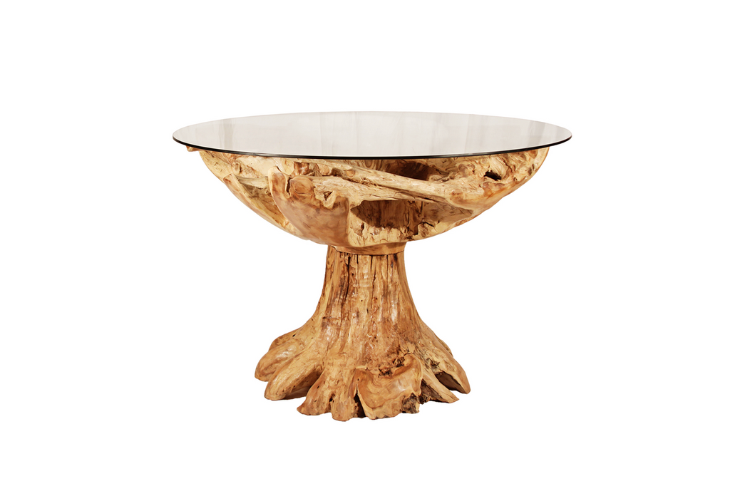 Round Teak Table w/Glass