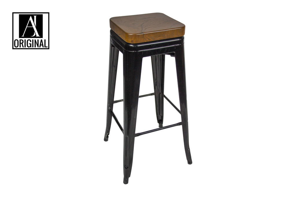 Black Metal Barstools w/ Walnut Seats