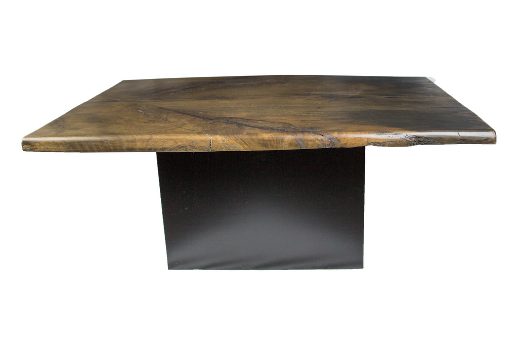 Live Edge Coffee Table with Black Base
