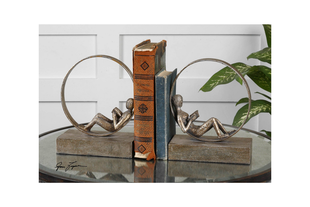 Lounging Reader, Bookends, Set of 2