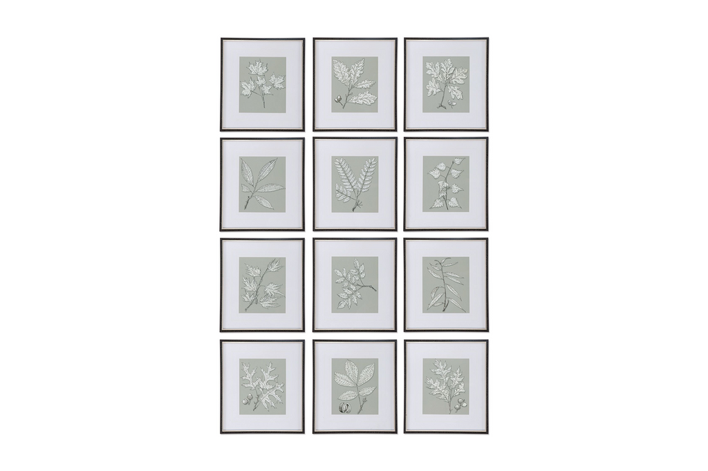 Leaves on Taupe, Set of 12