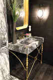 Marble & Ornamental Iron Bathroom Vanity