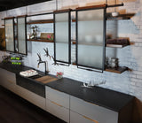 Sink Wall Shelving Unit and Sliding Doors