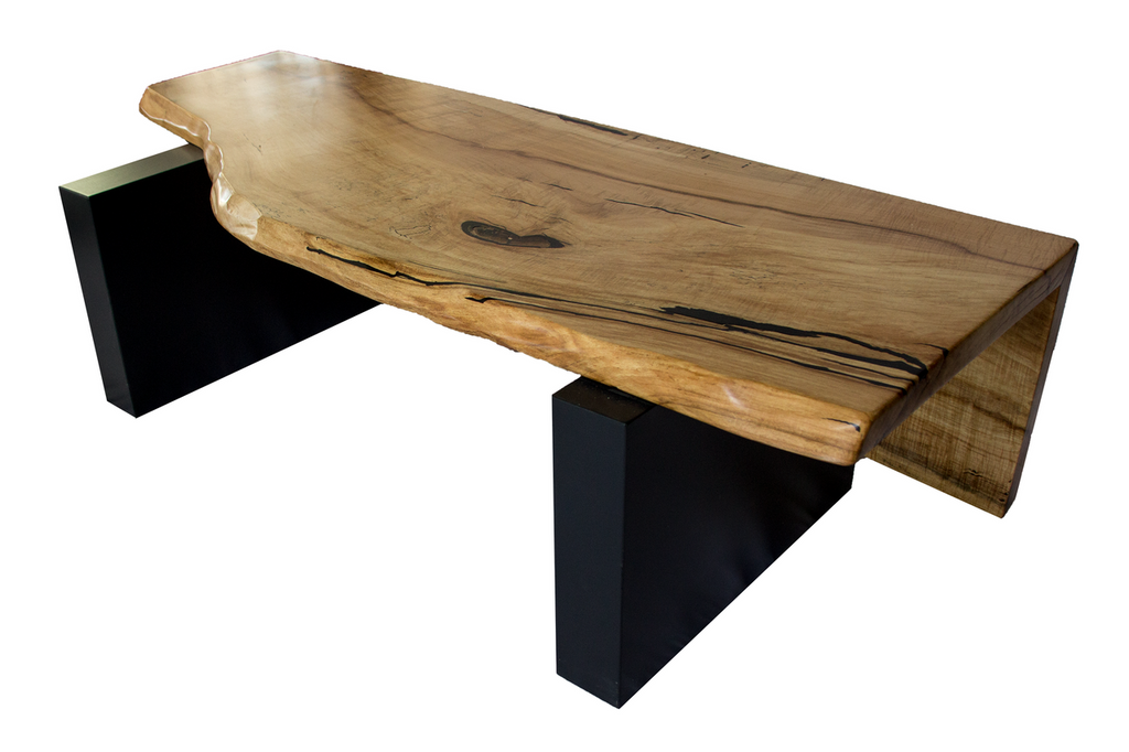... Live Edge Spalted Maple Table/Bench With Black Base ...