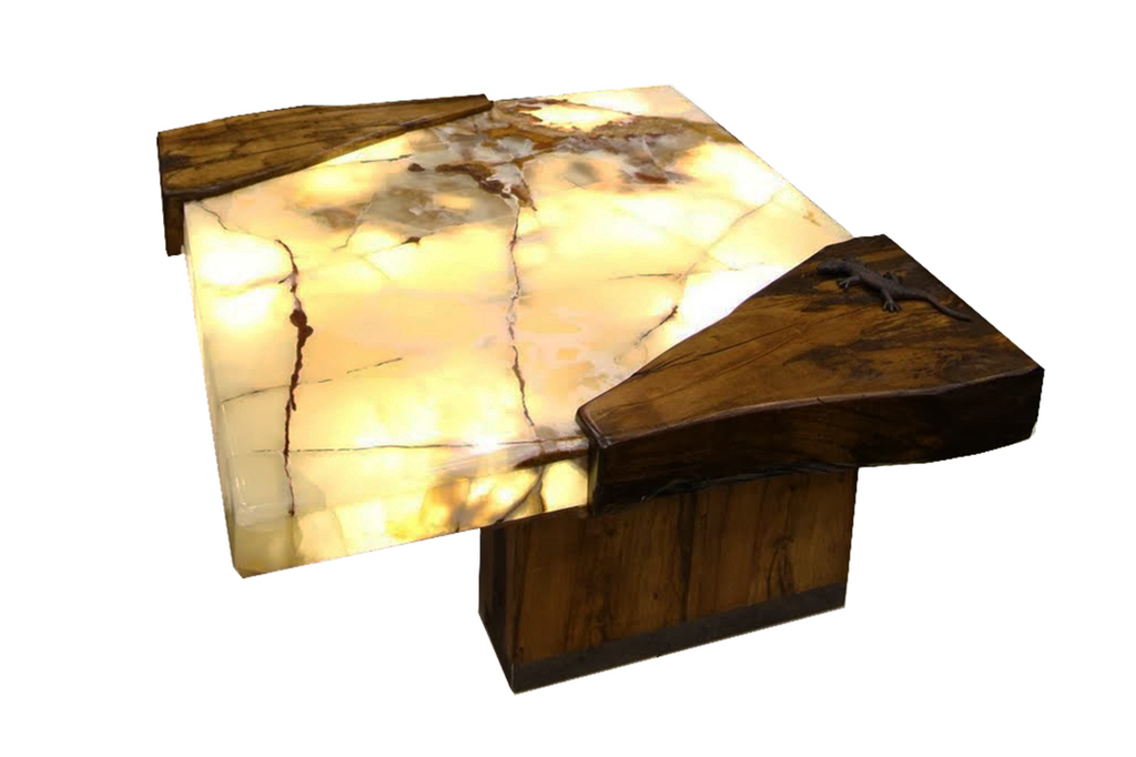 ... Live Edge Lit Onyx Spalted Maple Table ...