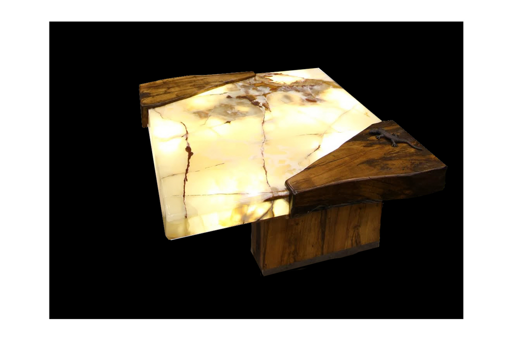 Live Edge Lit Onyx Spalted Maple Table