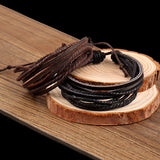Wrap multilayer Leather Braided Rope Wristband men bracelets