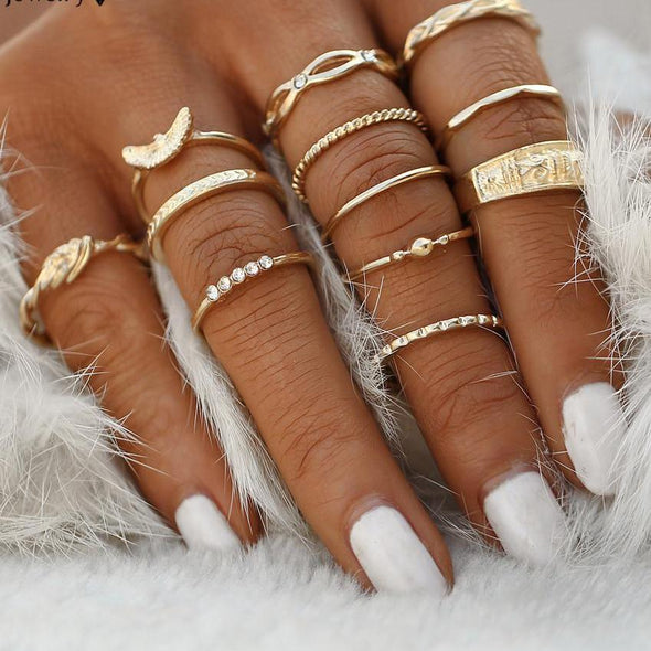 12 pc/set Bohemian Ring Set - Hippie BLiss