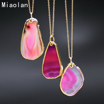 Free 18k Gold Plated Natural Agate Pendant Red Blue Green Purple - Just Pay For Shipping - Hippie BLiss