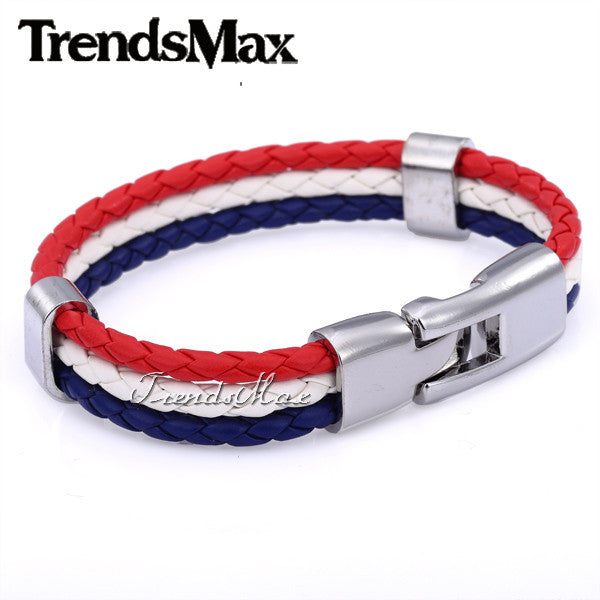 World Cup National Flags Sports 3 Strands Rope Braided Surfer Leather Bracelets Mens Bracelets