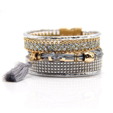 Multilayer Boho rhinestone Leather Tassels Magnet Bracelet - Hippie BLiss