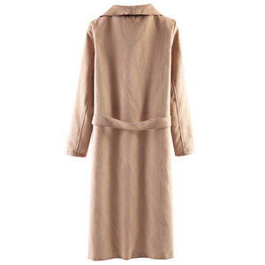 Wide Lapel Loose Winter Wool Coat Trench Coat Camel Coat