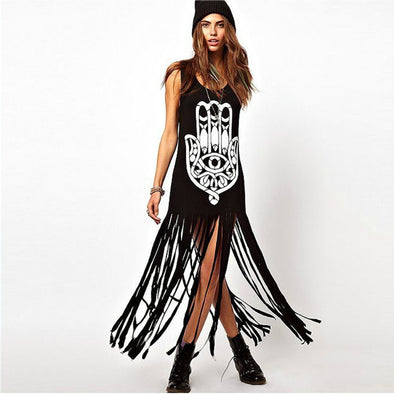 Hippie Tassel Long Tee Dress Casual Punk Maxi Dress Sleeveless - Hippie BLiss