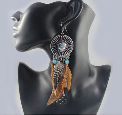 Vintage Hollow Fringed Feathers Earring - Hippie BLiss