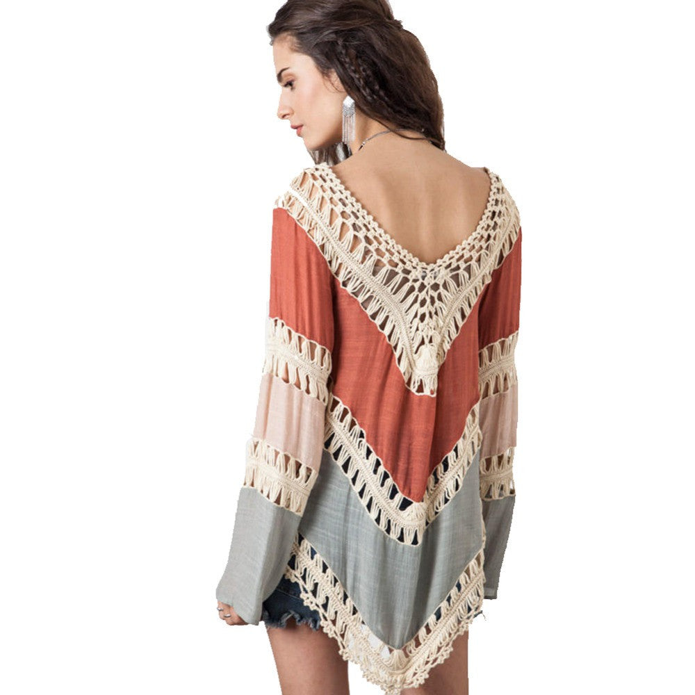 2ed16765199 Multicolor V neck Lace Crochet Kimono Blouse Plus Size Shirt Long Knit Tunic  Tops
