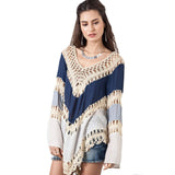 Multicolor V neck Lace Crochet Kimono Blouse Plus Size Shirt Long Knit Tunic Tops