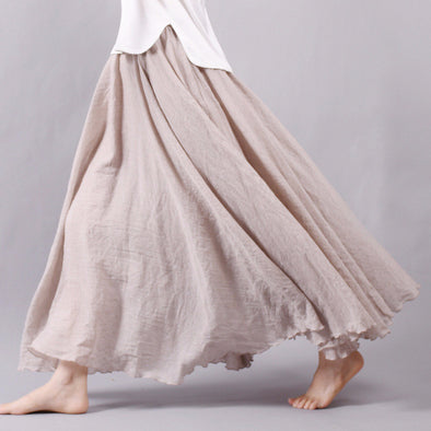 Women Linen Cotton Long Skirts Elastic Waist Pleated Boho Style