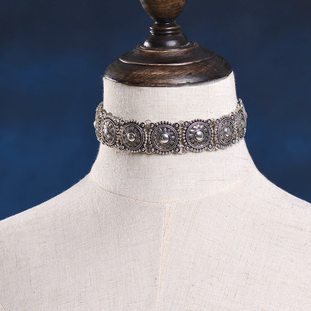 Boho Collar Choker Silver Necklace statement necklace - Hippie BLiss