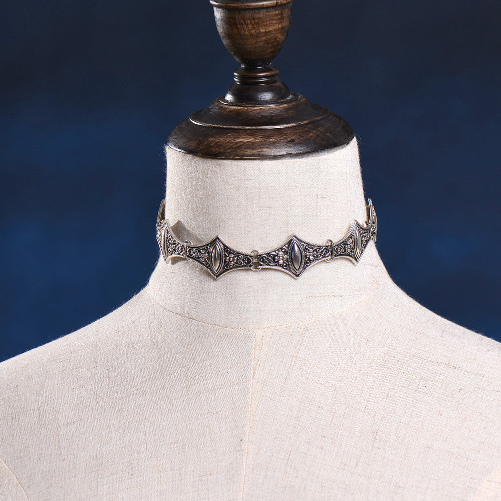 Boho Collar Choker Silver Necklace - Hippie BLiss