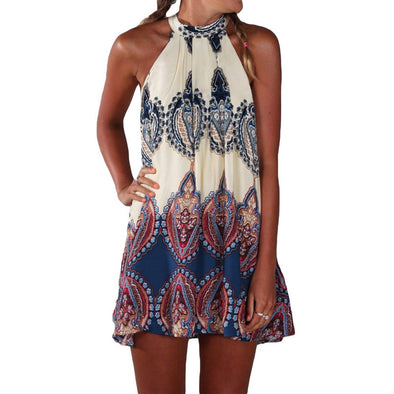 Summer Dress Boho Women Dress Printed Halter Style Sleeveless Beach Party Mini Dresses