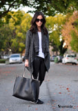 Black Long Sleeve Knitwear Wrap Oversize Knitted Cardigan Sweater - Hippie BLiss