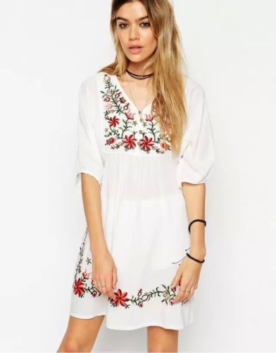 White  Embroidered Hippie  Gypsy  Mini Dress
