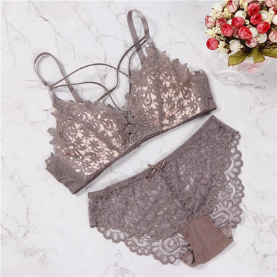 Flower Push Up Bra Set, Color - Grey - Hippie BLiss