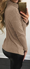 Women's Mock Neck Lace Up Knitted Wear Sweater Pullover Tops - Hippie BLiss