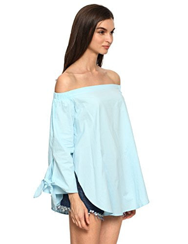 Off The Shoulder Knotted Long Sleeve Loose Blouse Color - Grey