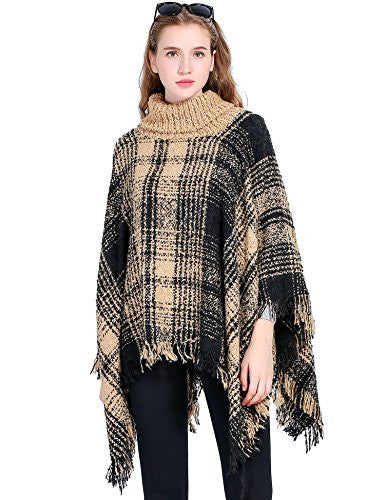 Women's Turtleneck Poncho Sweater Knitted Pullover Capes Tassel Shawl Plaid