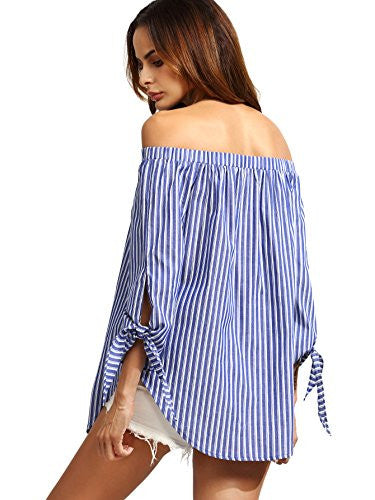 ROMWE Women's Off The Shoulder Knotted Long Sleeve Loose Blouse