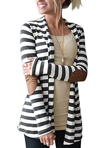 Shawl Collar Thick Striped Open Front Cardigan
