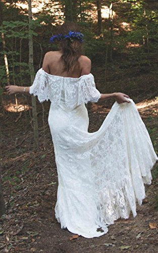 Off-Shoulder Court Train Lace A Line Boho Beach Wedding Dress