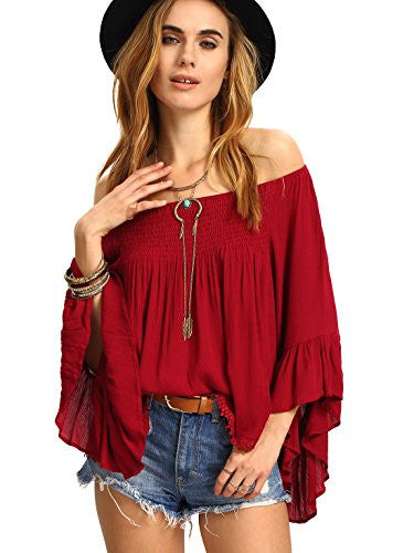 SheIn Women's Off the Shoulder Bell Ruffle Sleeve Top Blouse