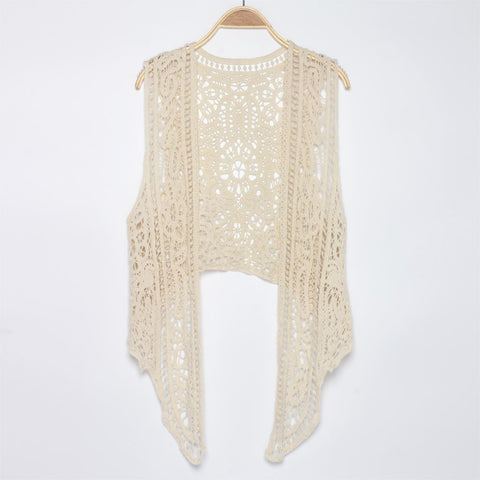 Bohemian Crochet Top Boho Chic Top Lace Up Tassel Top