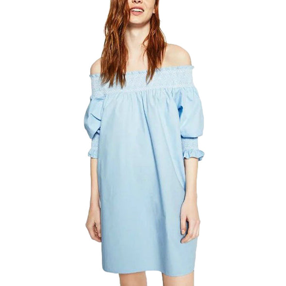 Off Shoulder Denim Summer Mini Dress