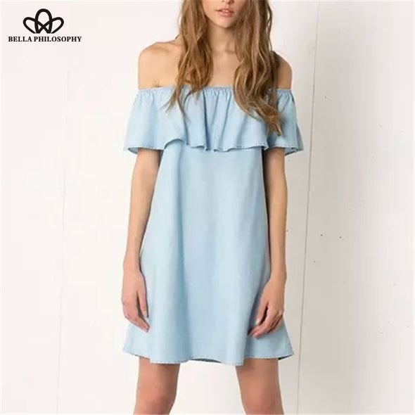 off shoulder denim casual dress