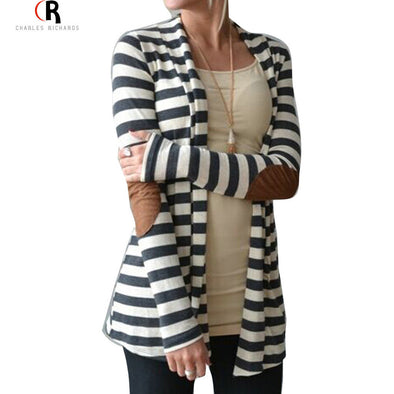 Black and White Striped Elbow Patching PU Leather Long Sleeve Knitted Cardigan - Hippie BLiss