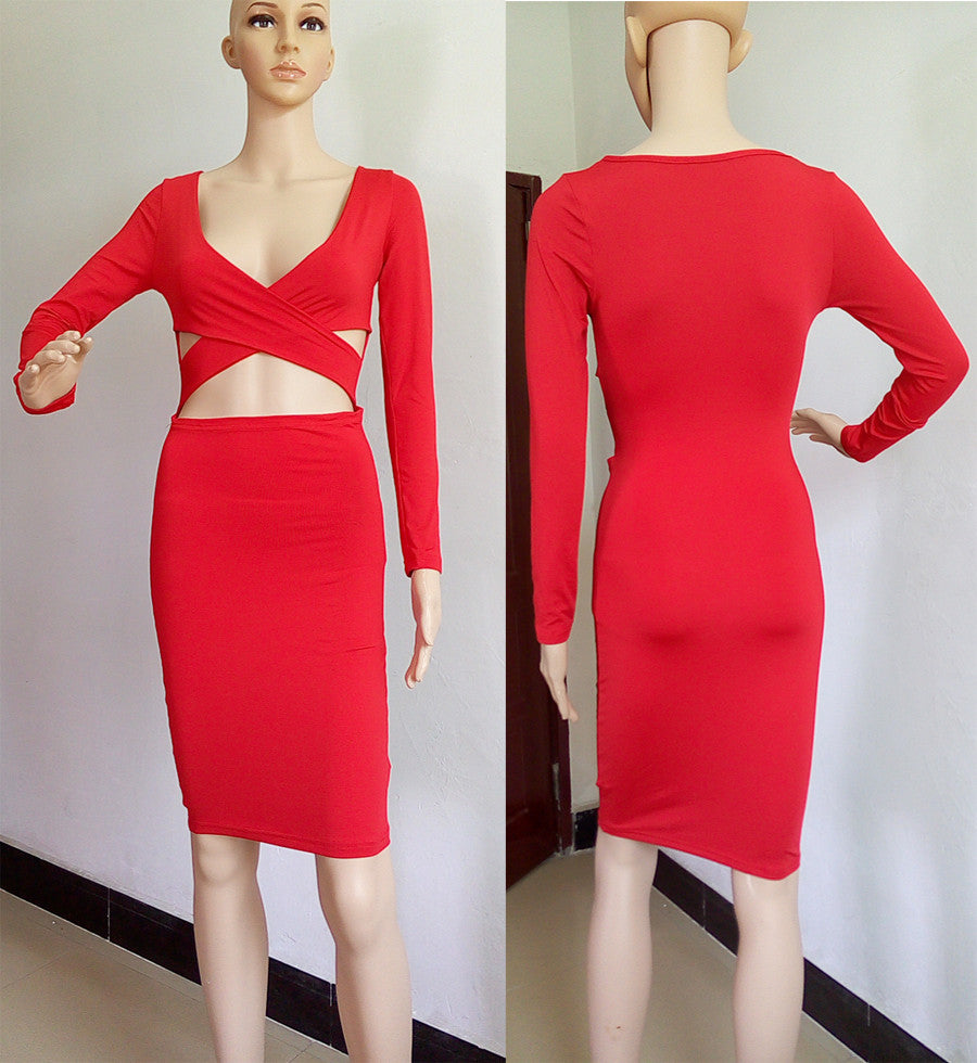 Party Dresses Sexy Midi Pencil Club Bandage Bodycon Dress
