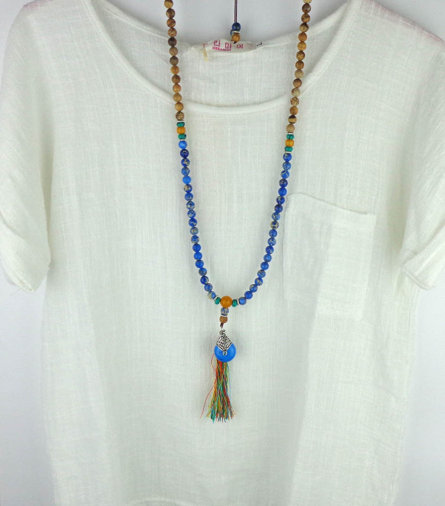 Blue Natural Imperial Stone tassel necklace Mala bead necklace boho ...