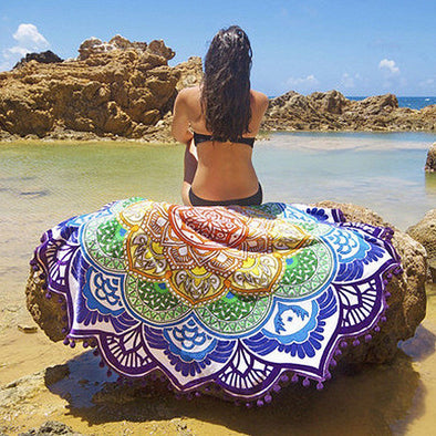 Bohemian Mandala Tassel Beach Round Tapestry Hippie Throw Roundie Yoga Mat Towel - Hippie BLiss