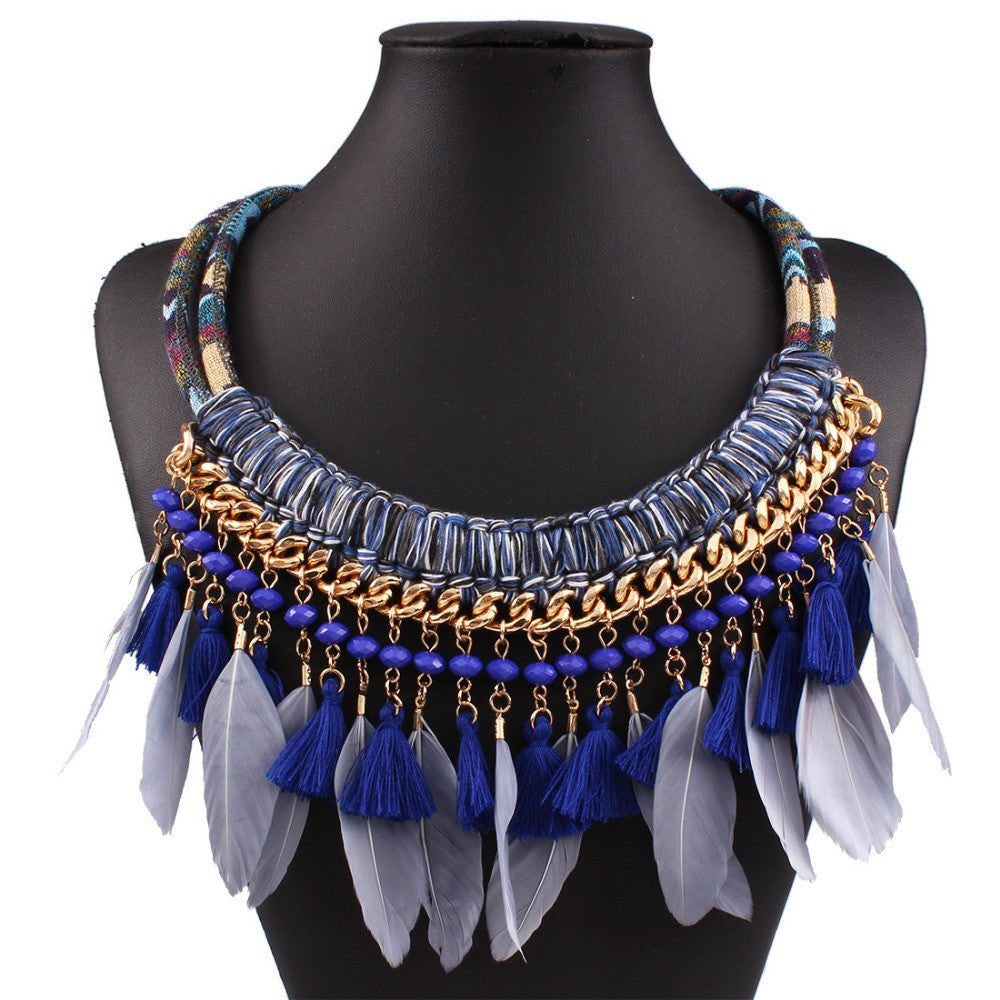 Boho Maxi Feather Necklace Boho Choker – Hippie Bliss