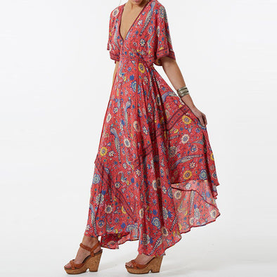 Boho Vintage Bird Floral Print Maxi Dress - Hippie BLiss