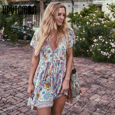 V Neck Short Sleeves Mini Boho Dress - Boho Chic