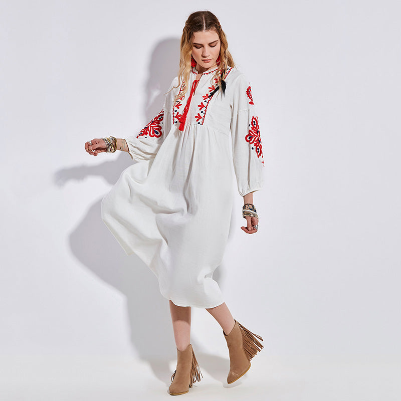 afdccfc4caf White Embroidery Floral Print Ruffles Bohemian Dress – BoohooPearl