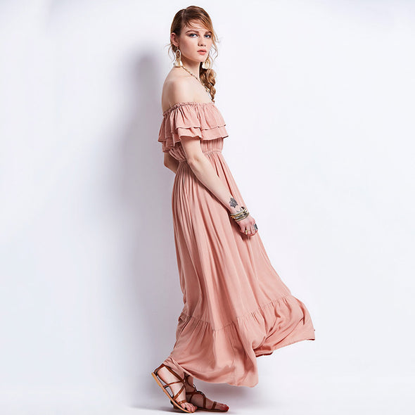 Bohemian Pink Ruffles Maxi Dress - Boho Chic - Hippie BLiss