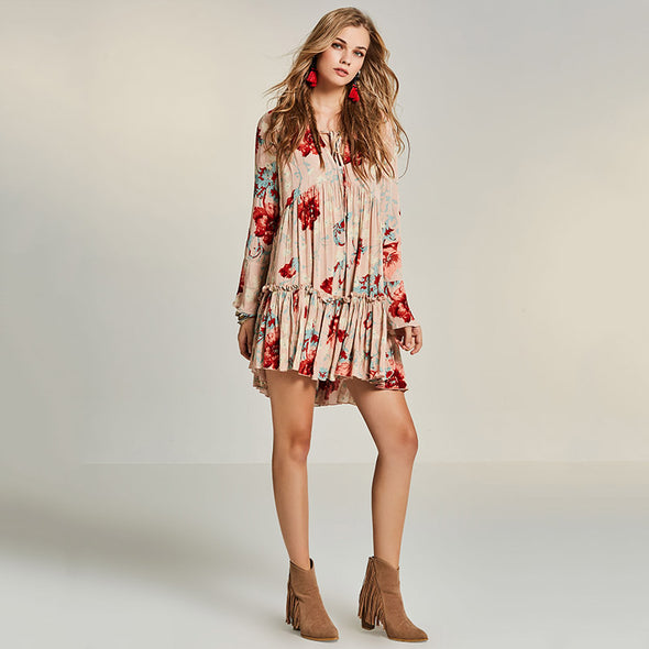 Boho Nude Floral Loose Dress - Hippie BLiss